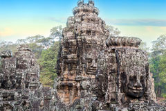 Stone faces sculpture, Angkor, Cambodia Stock Image