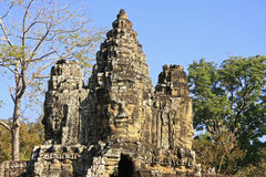 Stone faces of South Gate, Angkor Thom Stock Images