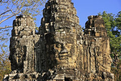 Stone faces of South Gate, Angkor Thom Royalty Free Stock Images