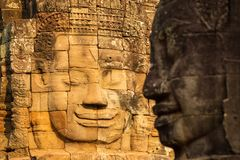 Stone faces on the towers of ancient Bayon Temple. In Angkor Thom, Cambodia Royalty Free Stock Photography
