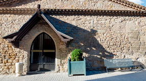 Stone fachade of medieval building at Carcassonne. In France Stock Photos