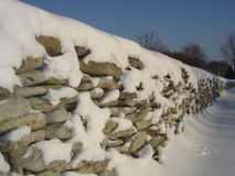 Stone fence. Snow-covered traditional stone fence in Northern-Europe (Estonia royalty free stock images