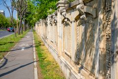 Stone fence of Palace of the Parliament in Bucharest. Romania stock photography