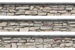 Stone fence panorama panoramic stonewall isolated Royalty Free Stock Photo