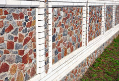 Stone fence in perspective Royalty Free Stock Image