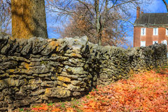 Stone fence. Traditional stone fence in Shaker Village of Pleasant Hill, Kentucky Royalty Free Stock Photo
