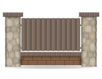 Stone fence vector illustration Royalty Free Stock Photos