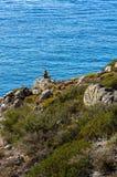 Stone Figure at the coast of Crete Stock Photos