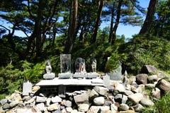 Stone figures of gods at the hiking trails around Ebino kogen highlands, Kyushu, Japan royalty free stock photo