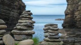 Stone figures at scottish coast. Stone figures at the scottish north coast royalty free stock photos
