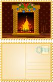 Stone fire-place with a christmas decorations. Cartoon stone fire-place with a christmas decorations Stock Photos