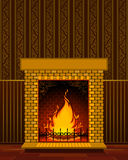 Stone fire-place with a christmas decorations Stock Photography