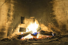 Stone fire place Royalty Free Stock Images