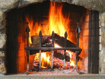 Stone Fireplace Royalty Free Stock Photography