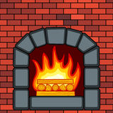 Stone fireplace in brick wall. Illustration of the fireplace in brick wall Royalty Free Stock Image