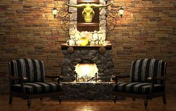 Stone fireplace and chairs Royalty Free Stock Photography