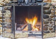 Stone fireplace Stock Image