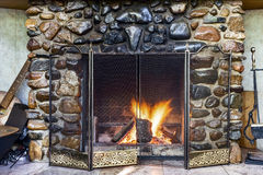 Stone fireplace Royalty Free Stock Photo