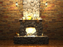 Stone fireplace Stock Photography