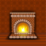 Stone fireplace with fire. Warm shades of red. Room wallpaper Royalty Free Stock Image