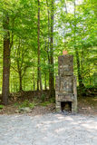 Stone Fireplace in Green Forest Stock Photo