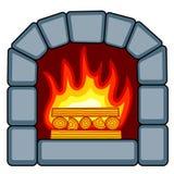 Stone fireplace icon. Illustration of the fireplace icon Royalty Free Stock Image