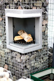 Stone fireplace outside Stock Photos