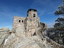 Stone Firetower. Historic Harney Peak Fire Tower in Black Hills National Forest Royalty Free Stock Images