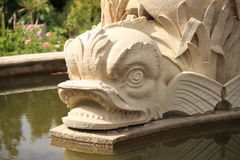 Stone fish fountain. In the Monserrate Palace in Sintra Portugal Royalty Free Stock Photo