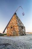 Stone Fishing Building on Rocky Coastline in Norway Royalty Free Stock Image