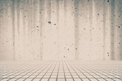 Stone floor and Concrete wall stock image