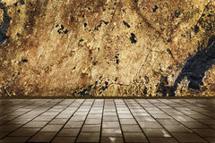 stone floor tiles and a stone wall grunge Stock Photography