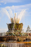 Stone flower fountain main ensemble at VDNKh Stock Photos