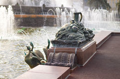 Stone flower fountain sculpture at VDNKh Royalty Free Stock Photography