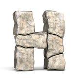 Stone font letter H 3D vector illustration