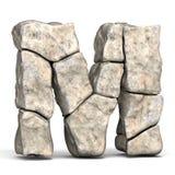 Stone font letter M 3D stock illustration