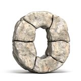 Stone font letter O 3D. Render illustration isolated on white background royalty free illustration