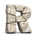Stone font letter R 3D. Render illustration isolated on white background royalty free illustration
