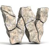 Stone font letter W 3D. Render illustration isolated on white background royalty free illustration