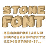 Stone font. Set of letters from stones. Alphabet and rocks. ston Royalty Free Stock Photo