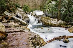 Stone Footpath by a Frozen Creek - 2. A stone footpath by a frozen Stony Creek located below the Cascade Falls, Jefferson National Forest, Giles County, Virginia Stock Photography