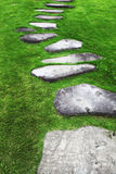 Stone footpath. Irregular shaped stone footpath surrounded by grass Royalty Free Stock Image