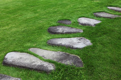 Stone footpath. Irregular shaped stone footpath surrounded by grass Royalty Free Stock Photography