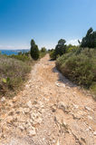 Stone footpath in the mountains leading to down Royalty Free Stock Images