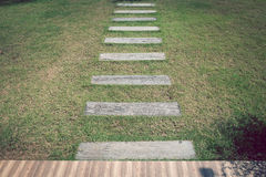Stone footpath pavement on green grass Stock Photography