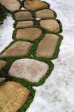 Stone footpath in snow Stock Photos