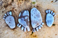 Stone footprints Stock Images