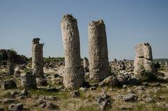 The stone forest in Bulgaria. Natural phenomena near Varna, Bulgaria, stones beaten into the ground stock images