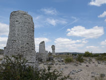 Stone forest (Pobiti Kamani) under the sky , near Varna, geologi Royalty Free Stock Photography