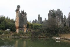 Stone forest. TheStone ForestorShilinis a notable set oflimestoneformations located inShilin Yi Autonomous County,YunnanProvince, People's Stock Photo